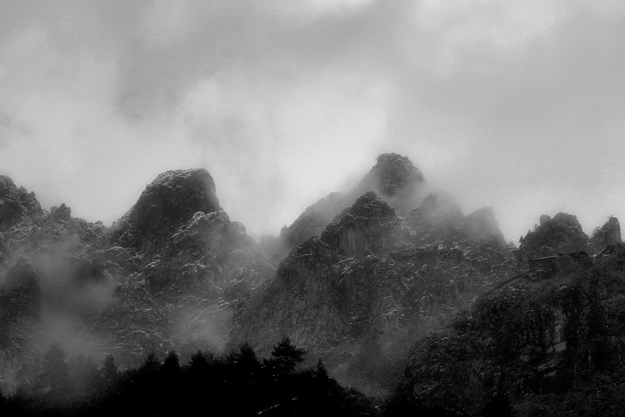 fog and rocks, clouds and mountains
